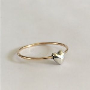Skinny 14k Yellow Gold Ring Band with Silver Heart